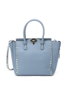 Valentino grey leather studded convertible trapeze tote