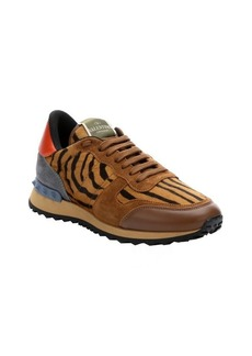 Valentino honey tiger dyed calf hair and leather sneakers
