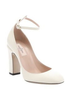 Valentino ivory leather ankle strap pumps