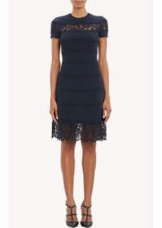 Valentino Lace & Ribbed Panel Fitted Dress