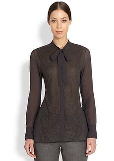 Valentino Lace & Silk Tie Blouse
