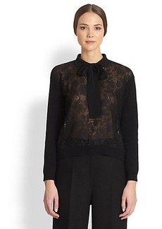 Valentino Lace-Front Sweater