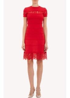 Valentino Lace-Inset Doubleknit Dress