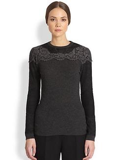Valentino Lace-Overlay Sweater