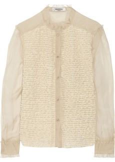 Valentino Lace-paneled silk-chiffon top
