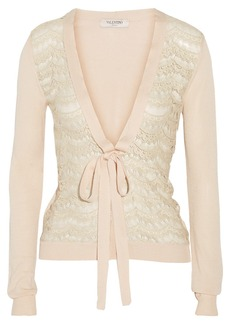 Valentino Lace-trimmed knitted cardigan