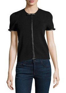 Valentino Leather-Trimmed Bow-Detailed Sweater, Black