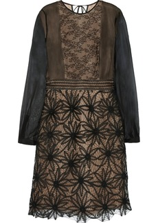 Valentino Leather-trimmed lace, chiffon and tulle dress