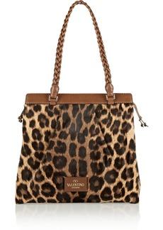 Valentino Leather-trimmed leopard-print calf hair shoulder bag