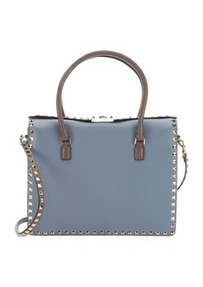 Valentino light blue and orange colorblock leather 'Rockstud' convertible top handle bag