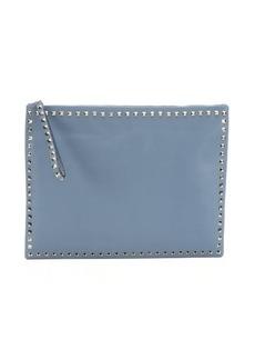 Valentino light blue leather 'Rockstud' large clutch bag