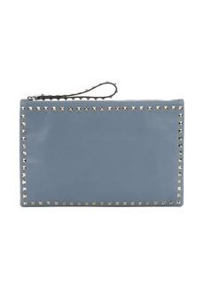Valentino light blue leather 'Rockstud' medium clutch