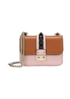 Valentino light brown and pale pink mini studded shoulder bag