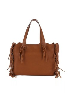 Valentino light brown leather knotted fringe trim large tote
