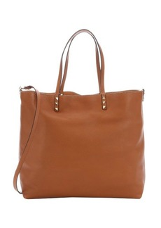 Valentino light brown leather 'Rockstud' convertible tote bag