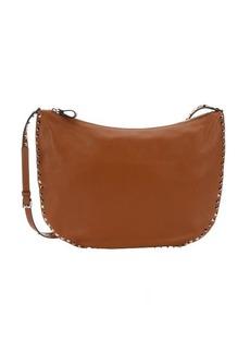 Valentino light brown leather 'Rockstud' large shoulder bag