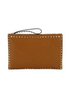 Valentino light brown leather 'Rockstud' oversized zip clutch