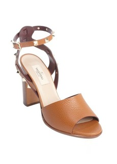 Valentino light cuir leather heeled studded open toe sandals