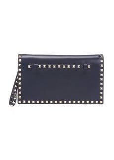 Valentino marine blue leather 'Rockstud' clutch