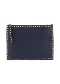 Valentino marine blue leather 'Rockstud' large clutch bag