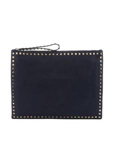 Valentino marine blue leather 'Rockstud' oversize clutch
