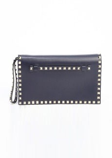 Valentino marine leather 'Rockstud' studded accent wristlet cutch