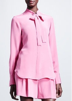 Valentino Marocain Silk Tie-Neck Blouse, Framboise Pink