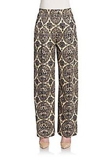 Valentino Medallion Print Wide Leg Pants