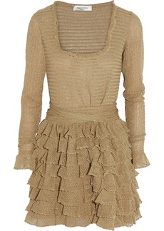 Valentino Metallic crochet-knit cotton-blend mini dress