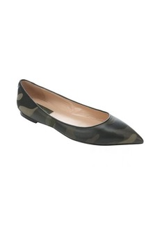 Valentino military leather and fabric pointed toe ballerina flats