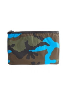 Valentino mimetic green and blue nylon camouflage flat zipper pouch
