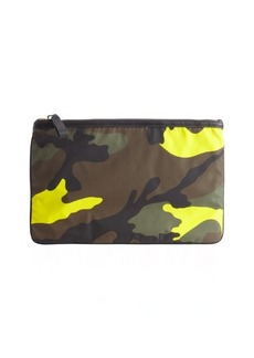 Valentino mimetic green and yellow nylon camouflage flat zipper pouch
