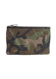 Valentino mimetic green nylon camouflage flat zipper pouch