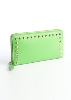Valentino mint leather studded detail continental wallet