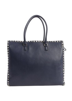 Valentino navy leather 'Rockstud' studded detail top handle tote