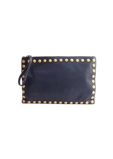 Valentino navy leather studded trim large clutch