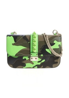 Valentino neon green and military green leather camouflage print studded detail shoulder bag