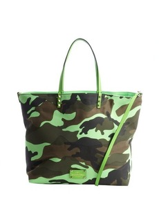 Valentino neon green leather and canvas camo printed reversible tote