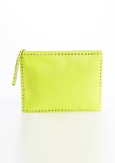 Valentino neon yellow leather 'Rockstud' studded trimmed large clutch
