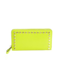 Valentino neon yellow leather studded detail continental wallet