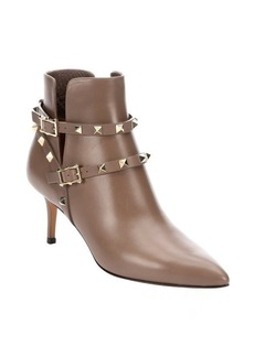 Valentino noisette leather 'Rockstud' ankle boots