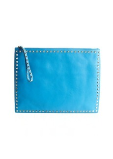 Valentino ocean blue leather 'Rockstud' studded trimmed large clutch