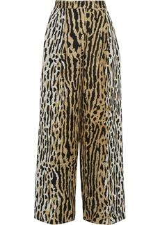 Valentino Ocelot-jacquard wide-leg pants