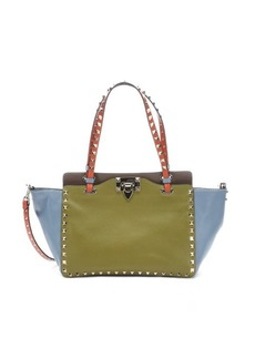 Valentino olive green and blue leather 'Rockstud' mini tote bag
