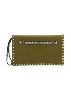 Valentino olive green colorblock leather 'Rockstud' wristlet clutch