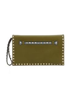 Valentino olive green colorblock leather 'Rockstud' wristlet clutch