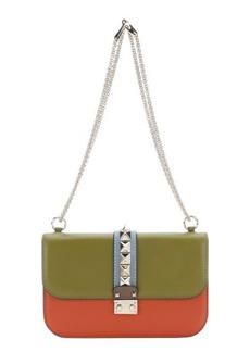 Valentino olive, orange and sky blue colorblock leather studded shoulder bag