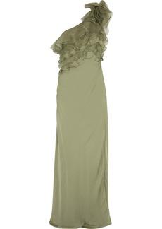 Valentino One-shoulder ruffled silk gown