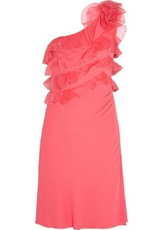 Valentino One-shoulder ruffled silk-organza and crepe dress