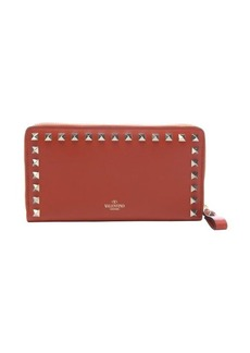 Valentino orange leather 'Rockstud' continental wallet
